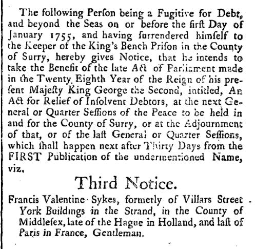 Francis Sykes Gazette 1756